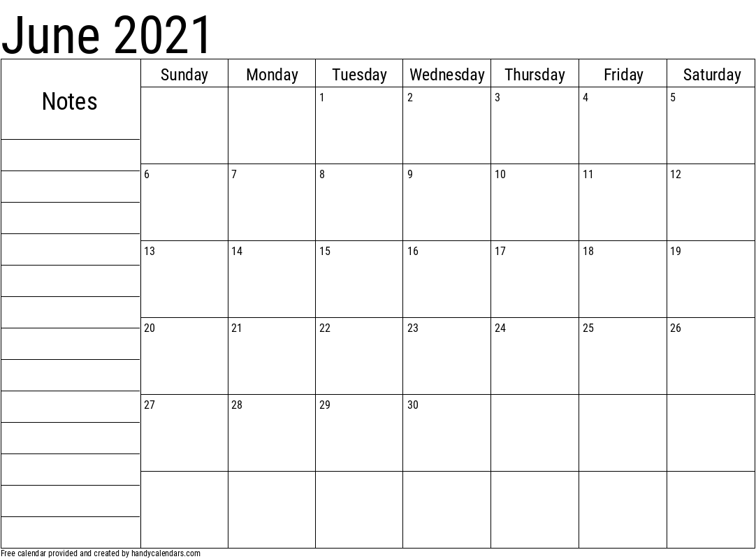 June 2021 Calendar With Notes