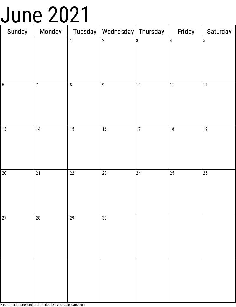 June 2021 Vertical Calendar