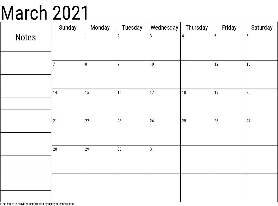 2021 March Calendar with Notes Template
