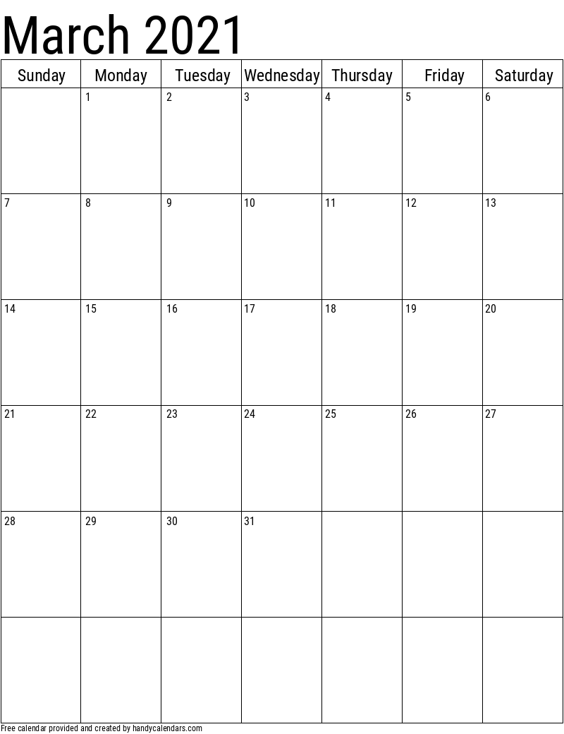 2021 March Vertical Calendar Template