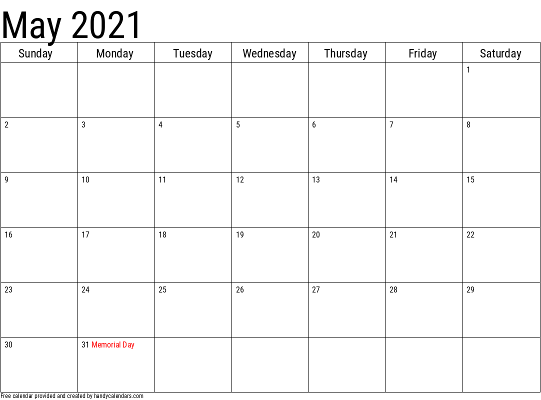 May 2021 Calendar with Holidays Template
