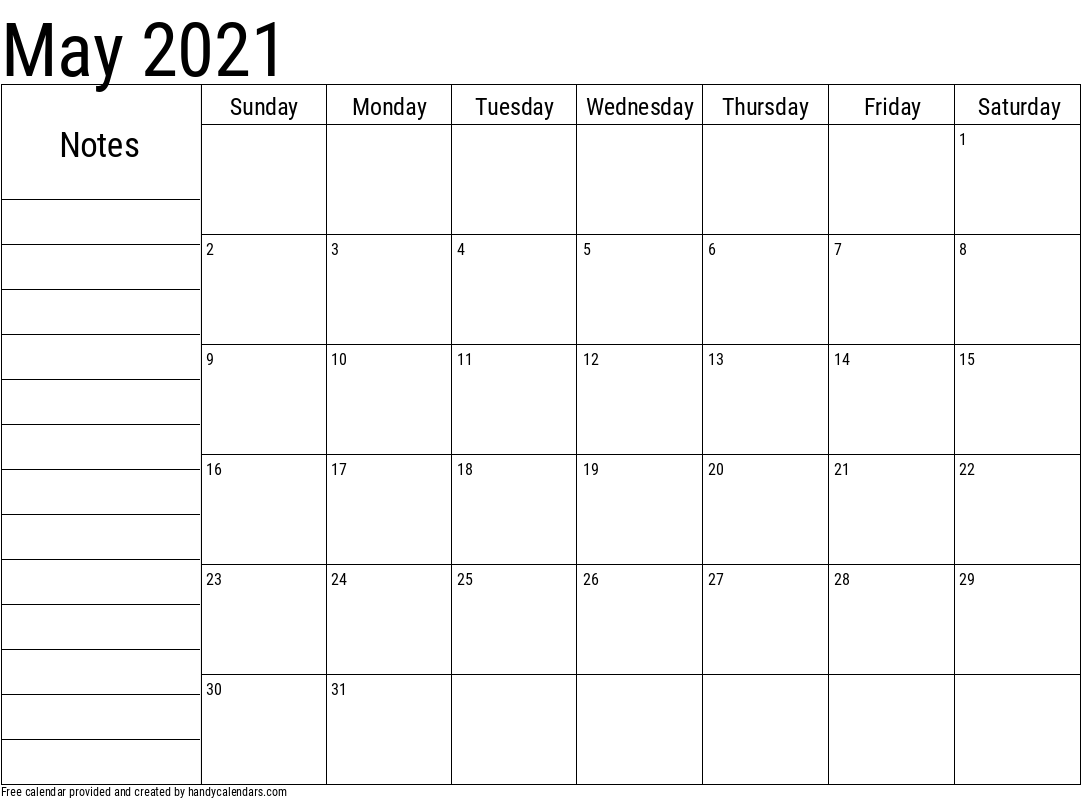 2021 May Calendar with Notes Template