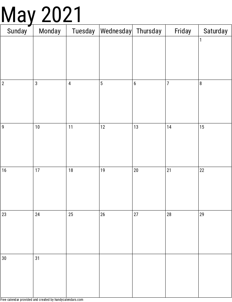 May 2021 Vertical Calendar Template