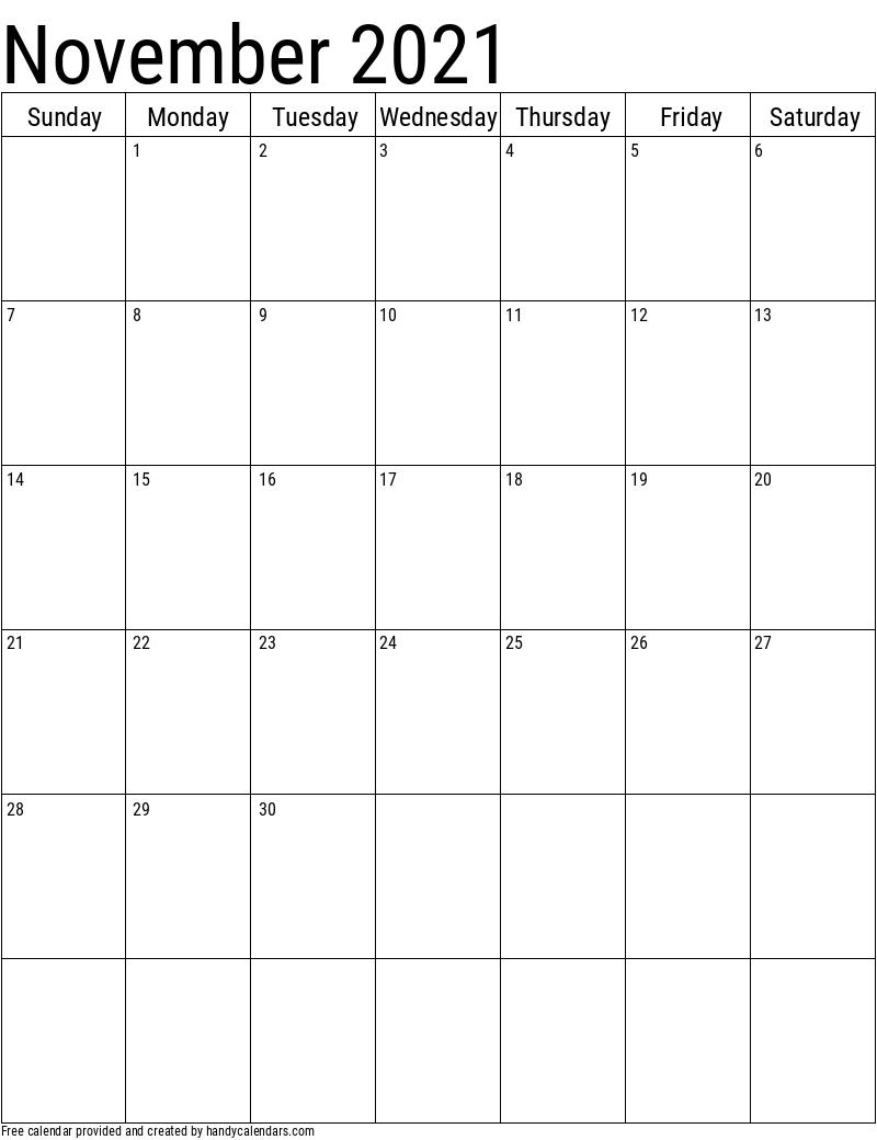 November 2021 Vertical Calendar Template