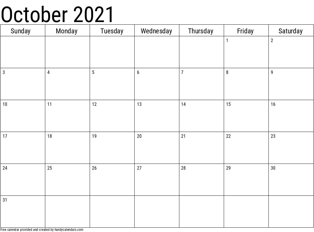 2021 October Calendar Template