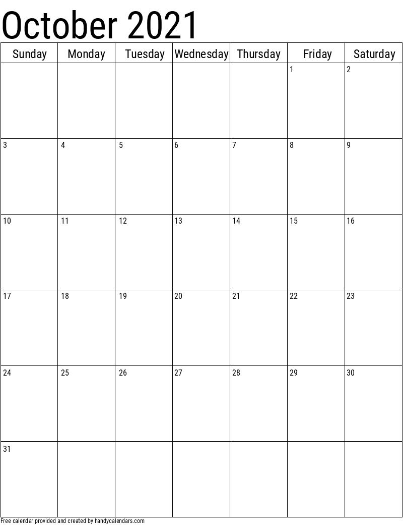 October 2021 Vertical Calendar Template