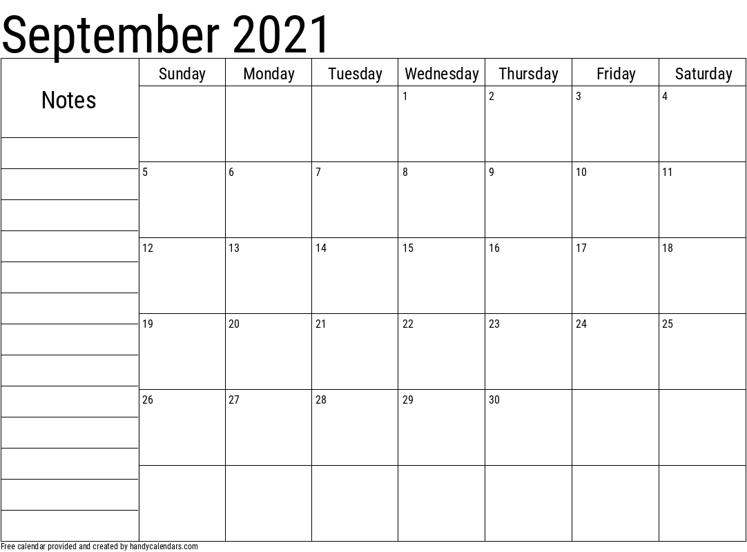2021 September Calendar with Notes Template