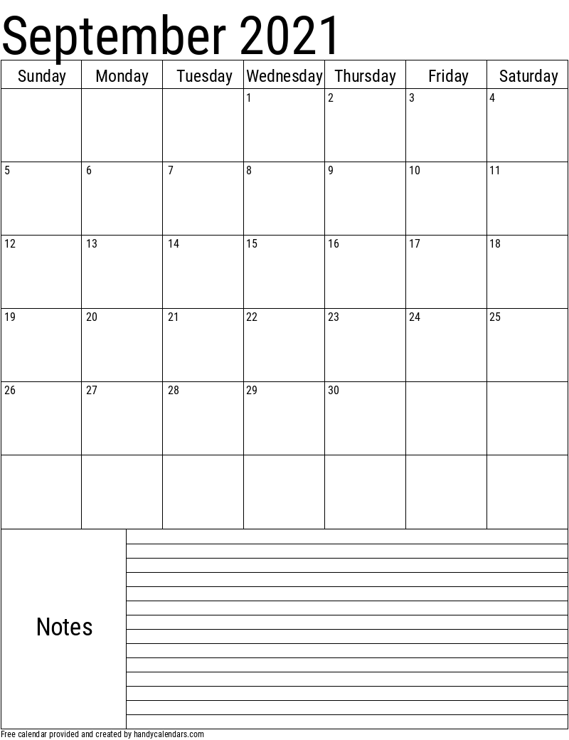 September 2021 Vertical Calendar With Notes