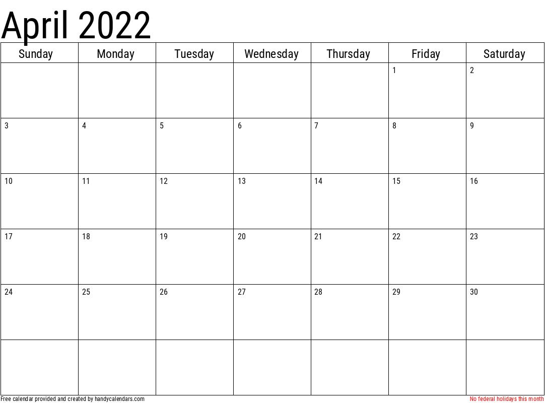 April 2022 Calendar Printable.2022 April Calendars Handy Calendars