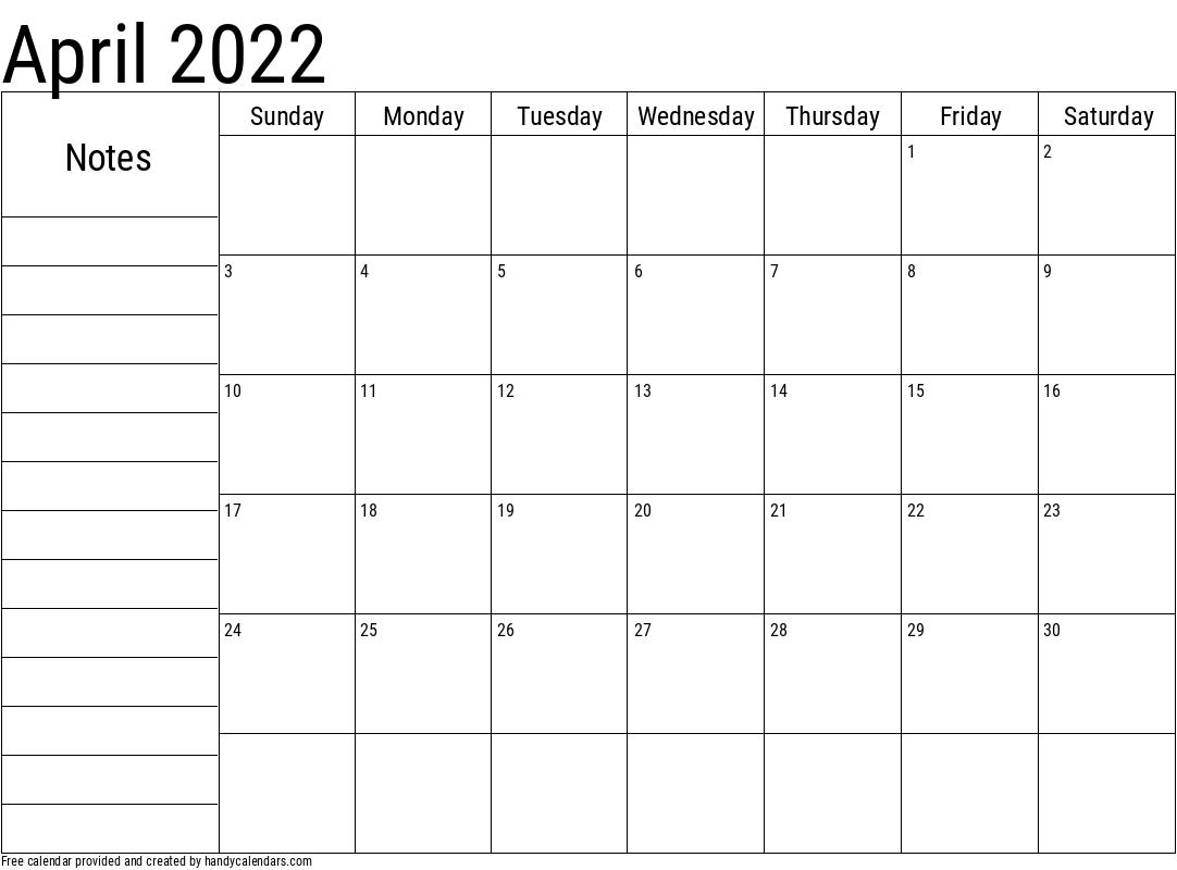 April 2022 Calendar With Notes