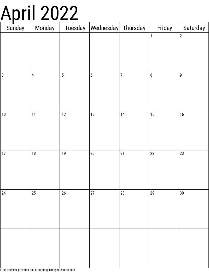 April 2022 Vertical Calendar Template