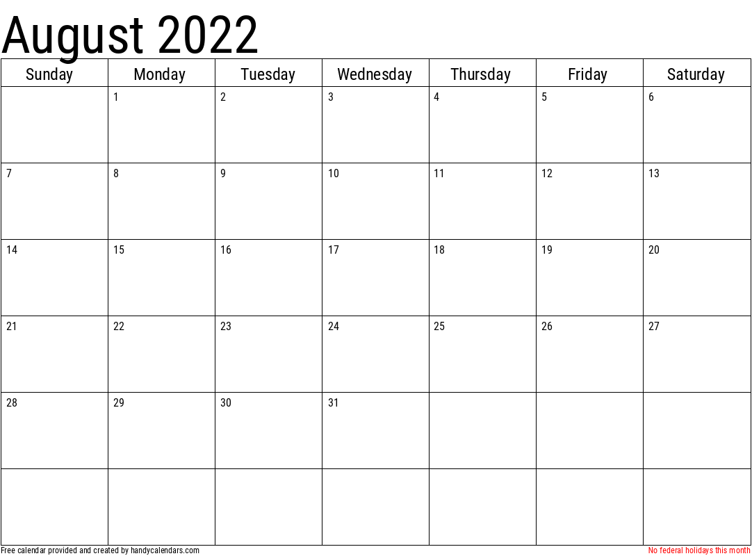2022 August Calendar Template with Holidays