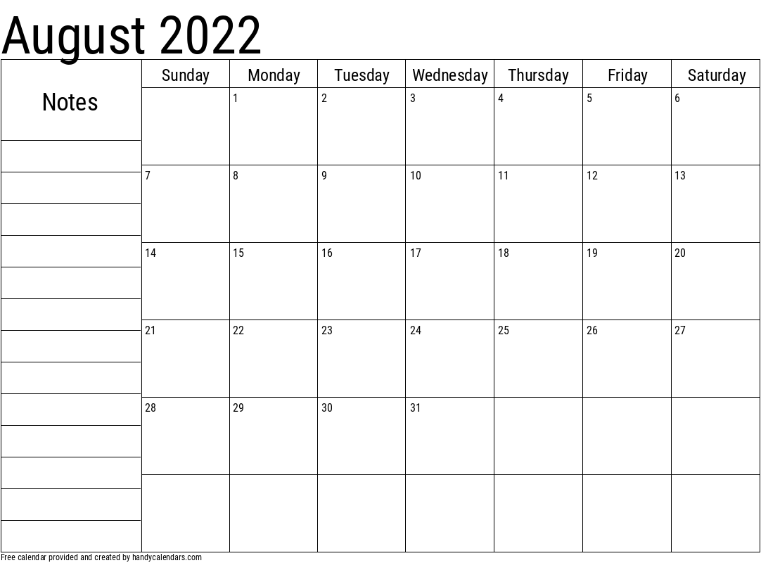 2022 August Calendar with Notes Template