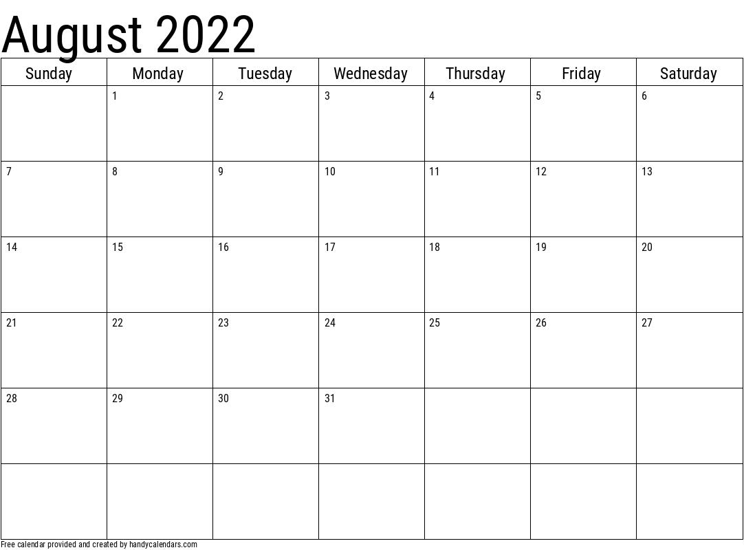 2022 August Calendar Template