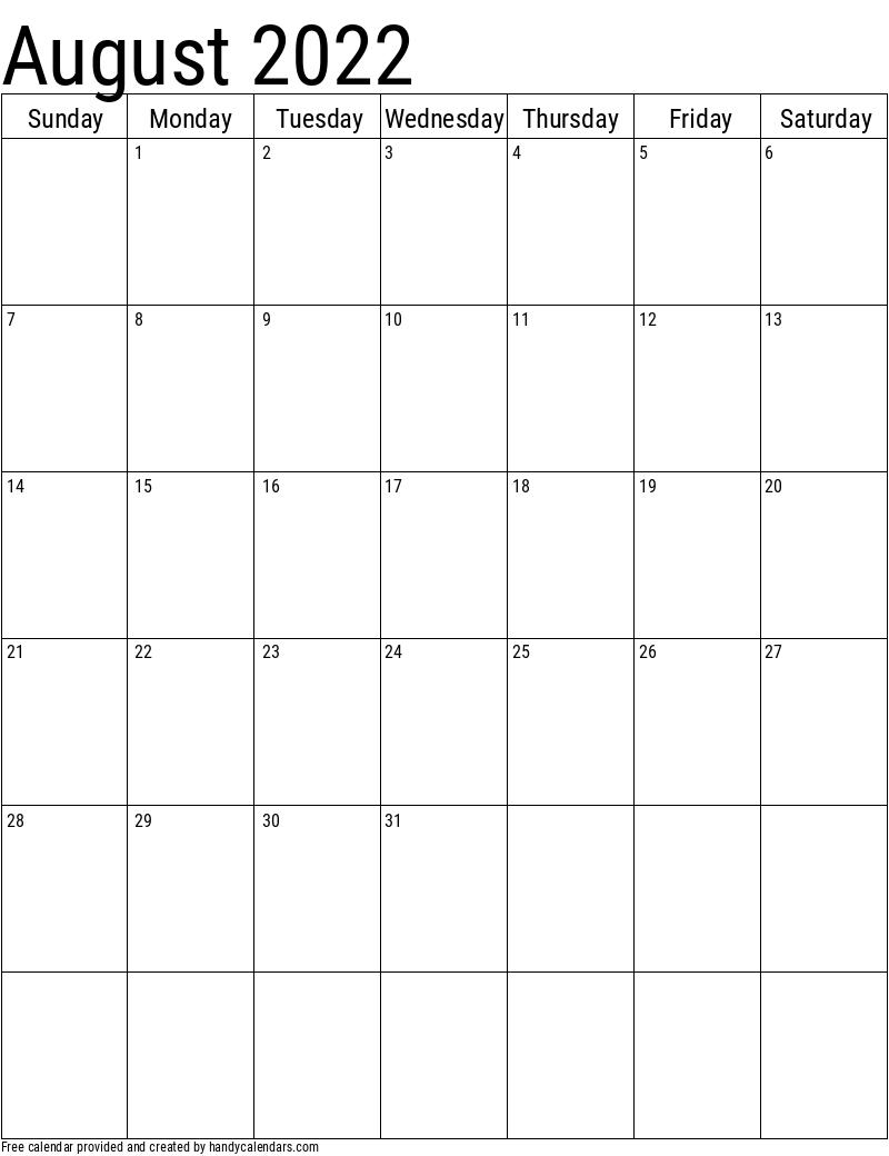 2022 August Vertical Calendar Template