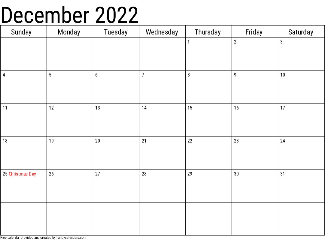 2022 December Calendar Template with Holidays