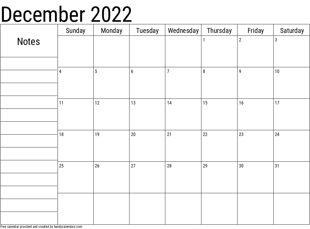 2022 December Calendar with Notes Template