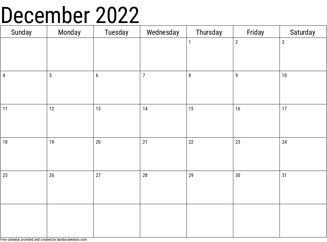 2022 December Calendar Template