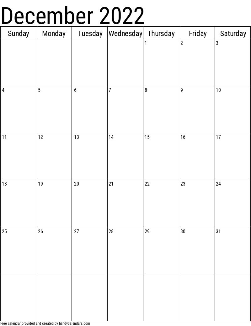 2022 December Vertical Calendar Template