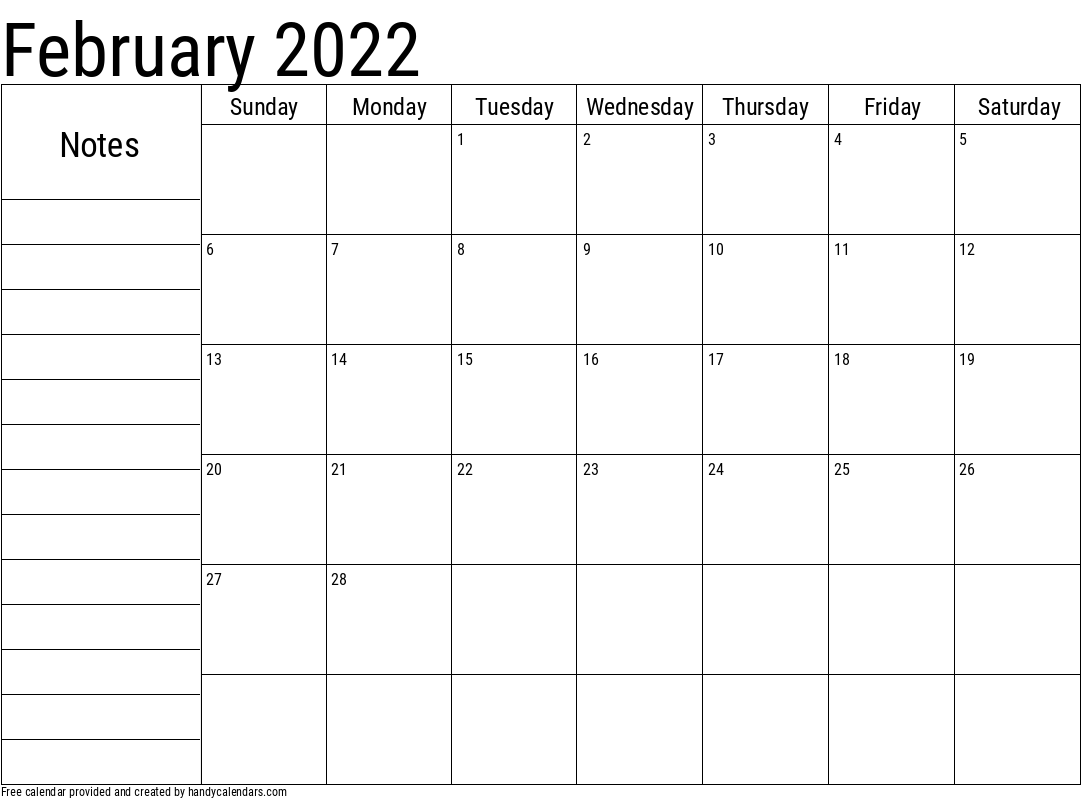 2022 February Calendar with Notes Template