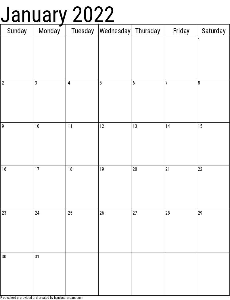 January 2022 Vertical Calendar