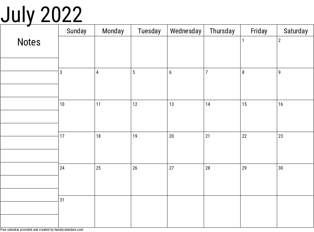 July 2022 Calendar With Notes