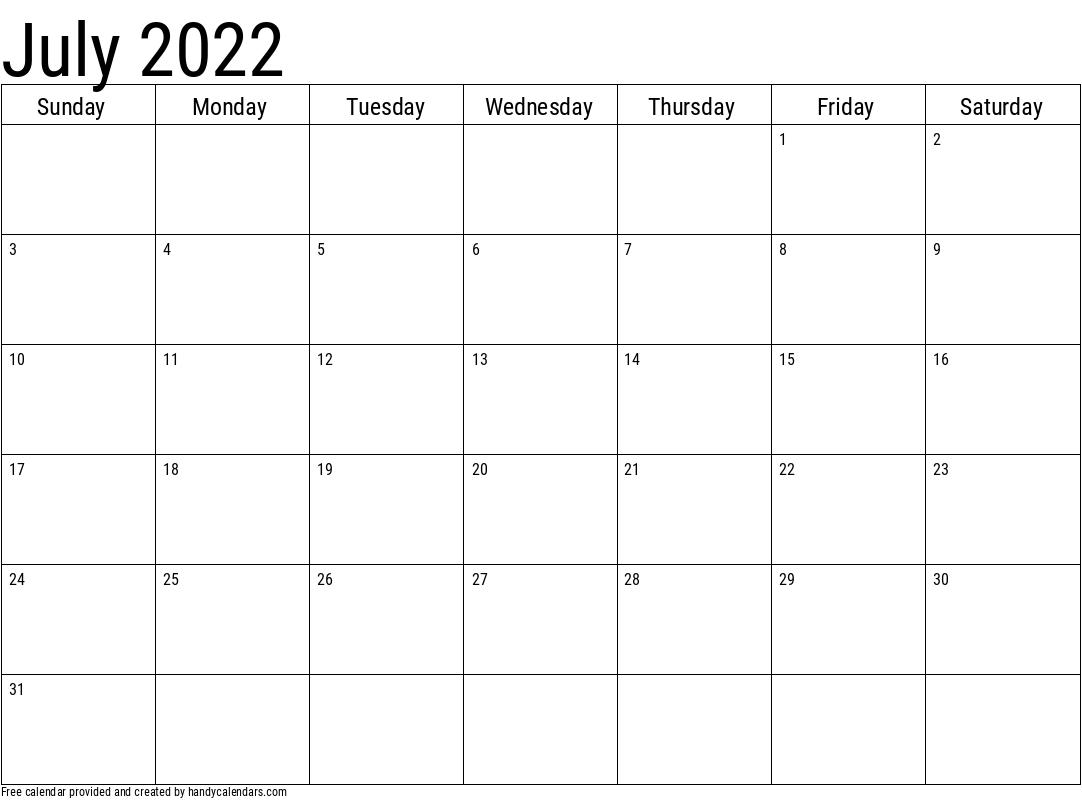 July 2022 Calendar Template