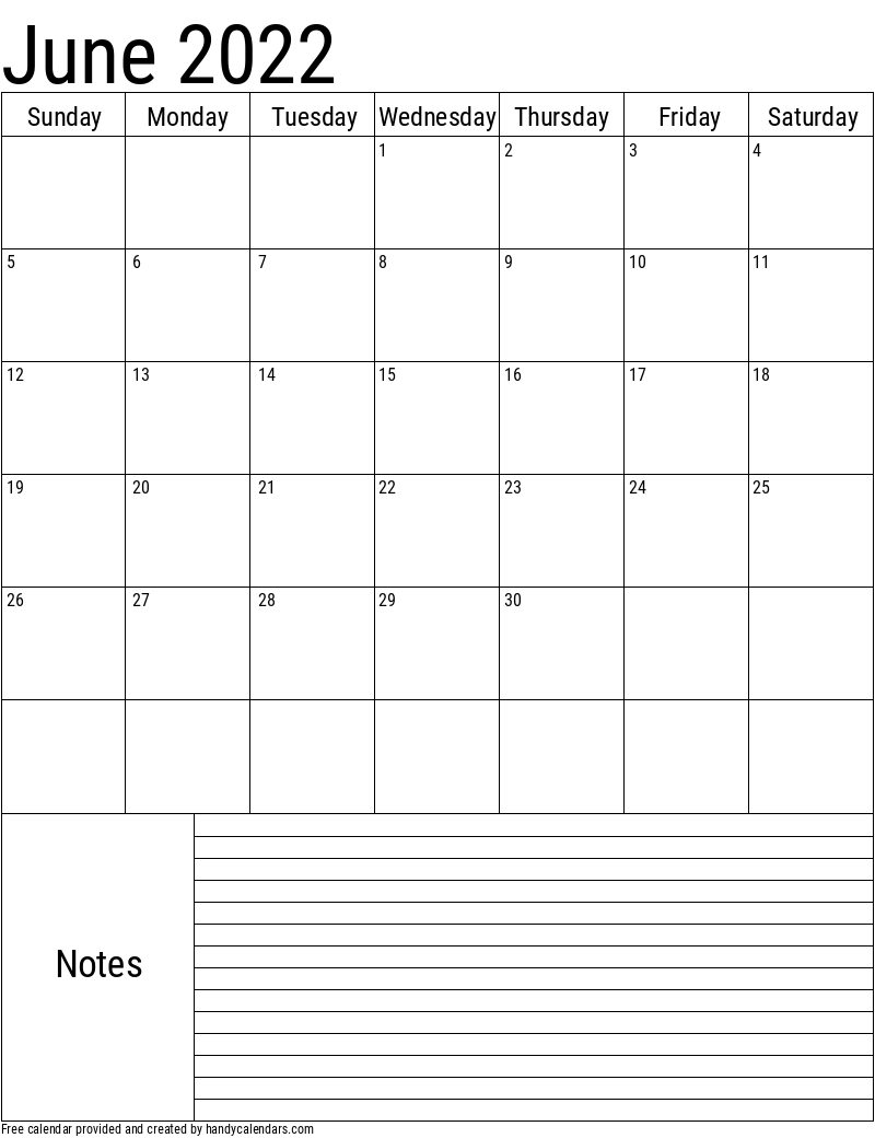 June 2022 Vertical Calendar With Notes
