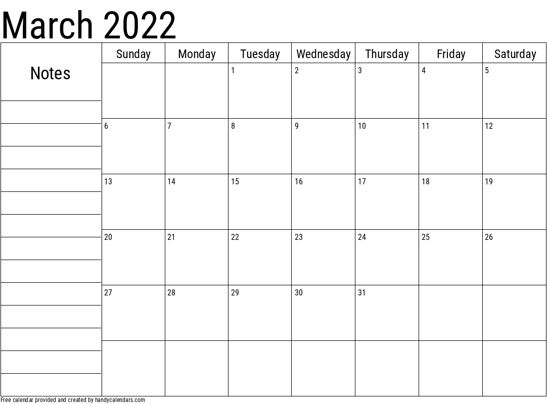 2022 March Calendar with Notes Template