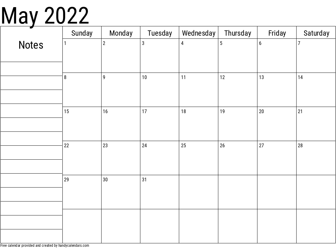 2022 May Calendar with Notes Template