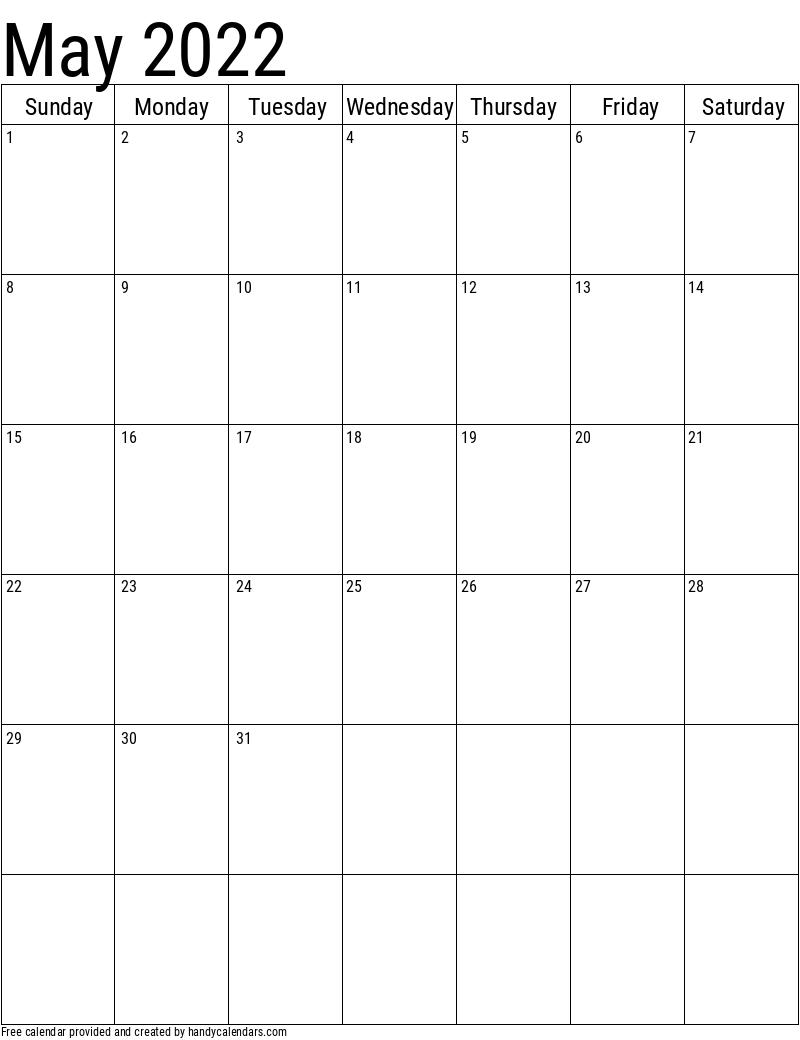 May 2022 Vertical Calendar Template
