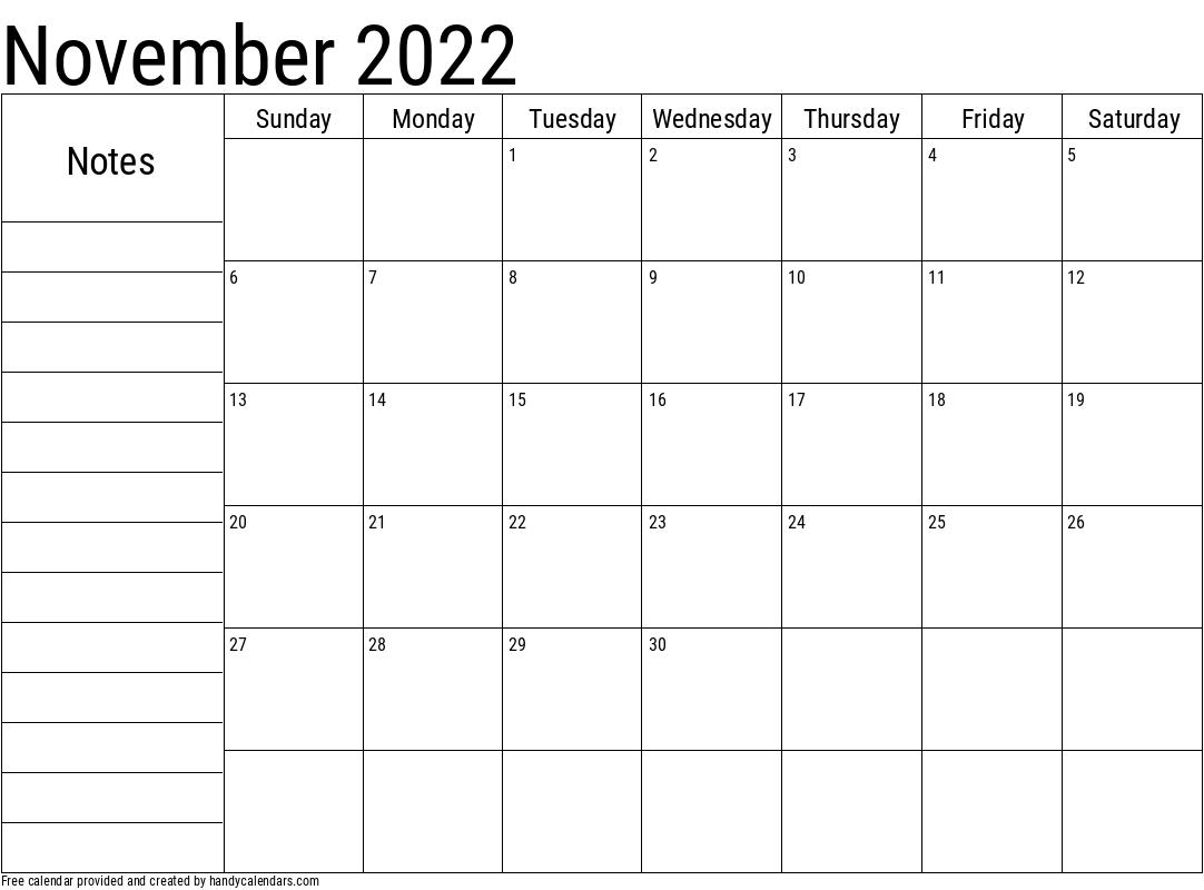 November 2022 Calendar With Notes