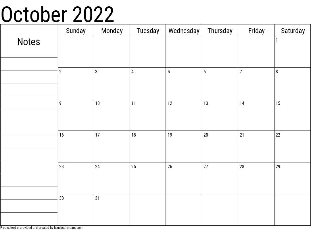 October 2022 Calendar With Notes