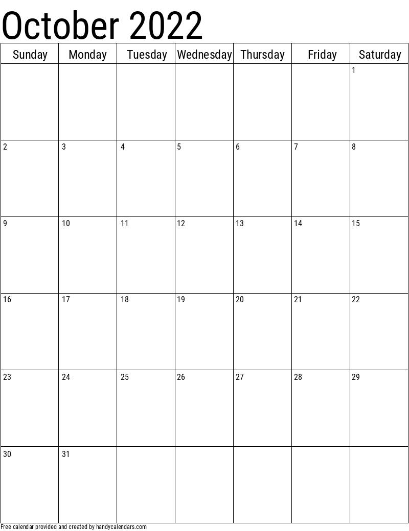 October 2022 Vertical Calendar
