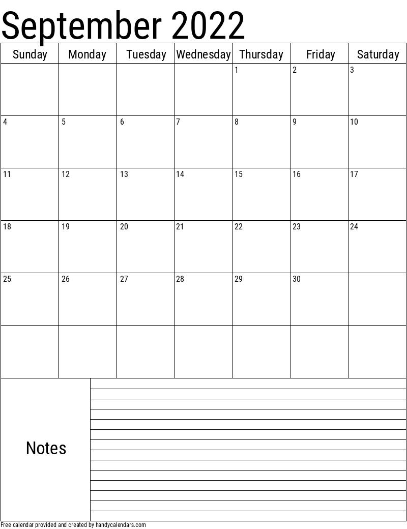 2022 September Vertical Calendar with Notes Template