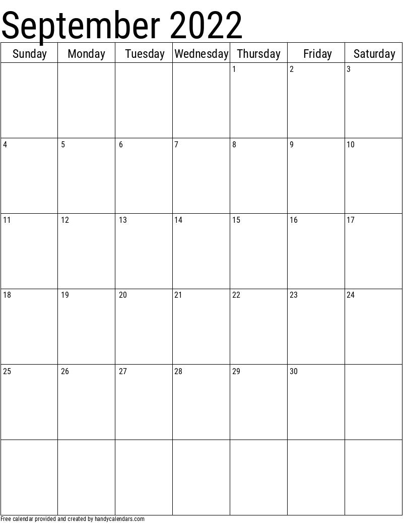 2022 September Vertical Calendar Template