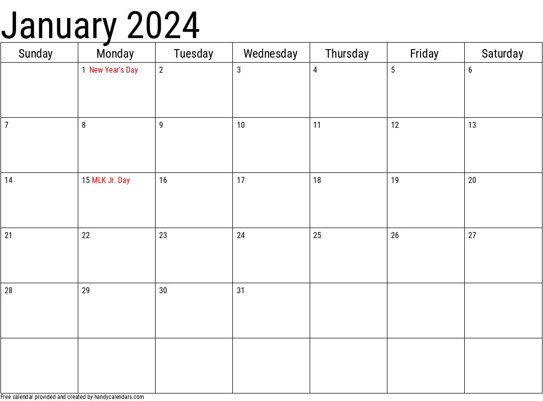 2024 January Calendars Handy Calendars